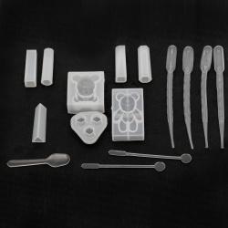Комплект силиконови молдове за леене на бижута от епоксидна смола и инструменти за работа