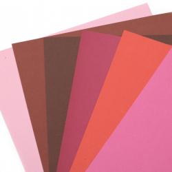 Картон 250 гр/м2 двустранен гладък А4 (21x 29.7 см) Berry Shades 6 цвята розово-червена гама -6 броя