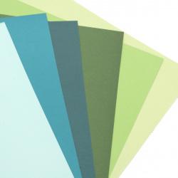 Картон 250 гр/м2 двустранен гладък А4 (21x 29.7 см) Forever Green 6 цвята синьо-зелена гама -6 броя
