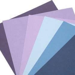 Картон 250 гр/м2 релефен едностранен А4 (21x 29.7 см) Midnight Skies 6 цвята синьо-лилава гама -6 броя