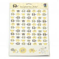 URSUS дизайнерски картон 220 гр/м2 А4 едностранен с печат Baby асорти дизайни 5 листа и щанцовани фигурки