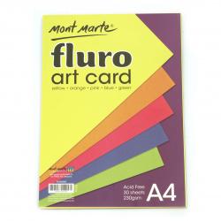 Флуоресцентен картон 230 гр/м2 А4 MM Fluro Art Card Pack 5 цвята 30 броя