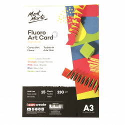 Флуоресцентен картон 230 гр/м2 А3 MM Fluro Art Card Pack 5 цвята 15 броя