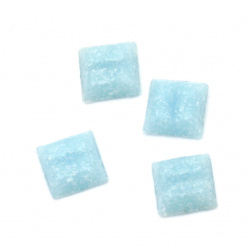 Glass mosaic for decoration with crystal structure 10x10x4 mm color light blue 100 grams ~ 153 pieces