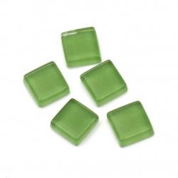 Oglindă din sticlă mozaică pentru decor 10x10x4 mm culoare verde 100 grame ~ 113 bucăți