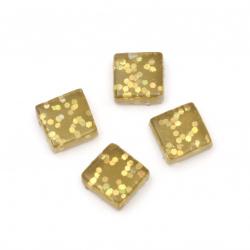 Mozaic de sticlă pentru decorare cu particule brocart 10x10x4 mm culoare auriu 100 grame ~ 113 bucăți