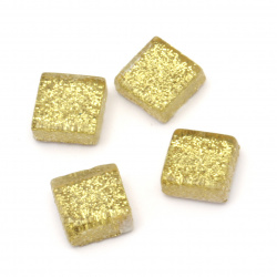 Glass mosaic for decoration with brocade 10x10x4 mm color gold 100 grams ~ 113 pieces