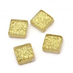 Mozaic de sticlă pentru decorare cu brocart 10x10x4 mm culoare aur 100 grame ~ 113 bucăți