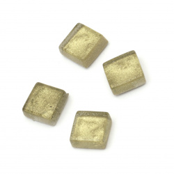 Glass mosaic for decoration 10x10x4 mm with Glitter, Antique Gold 10x10x4 mm 100 grams ~ 113 pieces