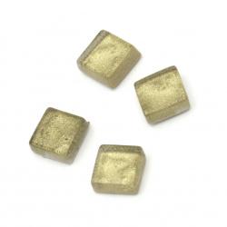 Mozaic de sticlă pentru decorare 10x10x4 mm culoare aur 100 grame ~ 113 bucăți