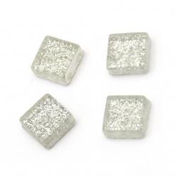 Glass mosaic for decoration with brocade 10x10x4 mm color silver 100 grams ~ 113 pieces