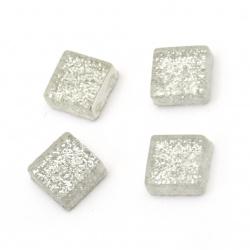 Sticla mozaic pentru decorare cu brocart 10x10x4 mm culoare argintiu 100 grame ~ 113 bucăți