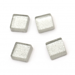 Glass mosaic for decoration 10x10x4 mm color silver 100 grams ~ 113 pieces