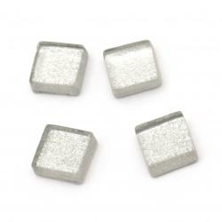 Sticla mozaic pentru decorare 10x10x4 mm culoare argintiu 100 grame ~ 113 bucăți