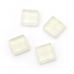 Μωσαϊκό γυάλινο για διακόσμηση με χρυσόσκονη 10x10x4 mm λευκό 100 γραμμάρια ~ 113 τεμάχια