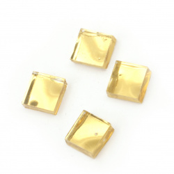 Glass mosaic for decoration 10x10x4 mm color yellow  mirror effect 100 grams ~ 115 pieces