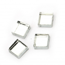Glass mosaic for decoration 10x10x4 mm color white mirror effect 100 grams ~ 115 pieces