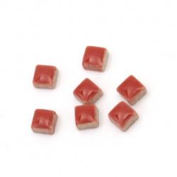 Мозайка керамична за декорация 5x5x3.5 мм цвят червен 20 грама ~ 132 броя