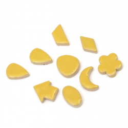Mosaic different shapes and sizes color yellow -16 pieces
