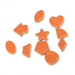 Mosaic different shapes and sizes color orange -16 pieces