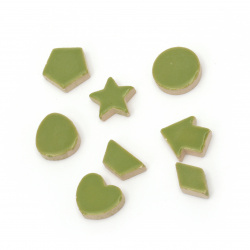 Mosaic different shapes and sizes color green -16 pieces
