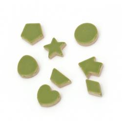 Мозайка различни форми и размери цвят зелен -16 броя
