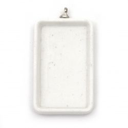 Керамична основа за медальон 23x42 мм плочка 17x32 мм бяла