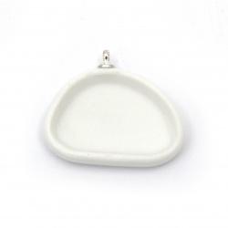 Керамична основа за медальон 28x24 мм плочка 22x15 мм цвят бял