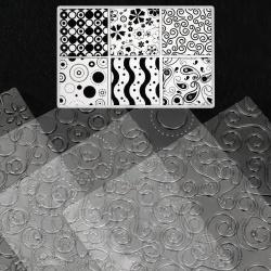 Set de tampoane cu șabloane texturate în relief 255x180 mm diferite forme de flori, motive -6 bucăți