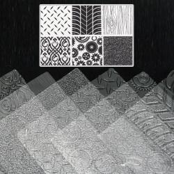 Комплект релефни текстурни стенсил подложки 255x180 мм метал, авто гуми, дърво, кожа, зъбни колела, плетеница -6 броя