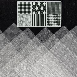 Set de tampoane cu șabloane texturate în relief 255x180 mm diferite țesături și țesături -6 bucăți