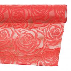 Текстилна хартия релефна рози 53x450 см цвят червен