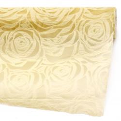 Текстилна хартия релефна рози 53x450 см цвят екрю