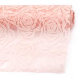 Hârtie textilă trandafiri în relief 53x450 cm culoarea piersicii