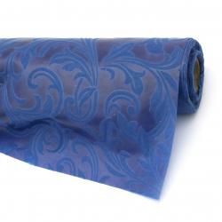 Textile paper embossed ornaments 53x450 cm color blue dark