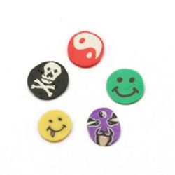 Decoration for gluingn fimo smiles 6 ~ 5x5 ~ 3x0.3 mm 12 types in a box ~ 120 pieces