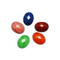 Elemente pentru decorare piatră acrilică ovală 8x6x2 mm 6 culori într-o cutie ~ 24 bucăți