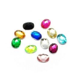 Decoration for gluing acrylic stone oval 8x6x2 mm 11 colors in a box ~ 24 pieces