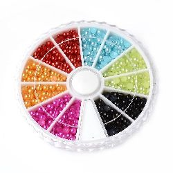Elements for decoration pearl hemisphere 3x1.5 mm 6 colors in a box ~ 1260 pieces