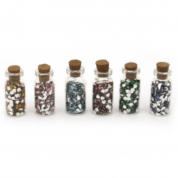 Elements for decoration acrylic stone in a glass jar 35x15 mm MIX