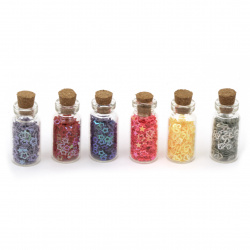 Elements for decoration sequins in a glass jar 35x15 mm MIX