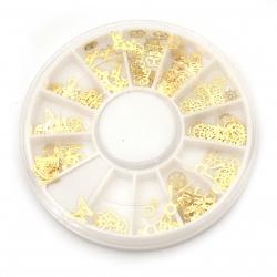Елементи за декорация ~4~6 мм за лепене цвят злато микс форми в кутия