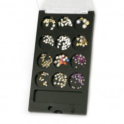 Елементи за декорация ~2~8 мм за лепене в луксозна кутия МИКС