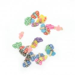 Елементи за декорация фимо 6~3x6~3x0.2~0.4 мм пеперуди АСОРТЕ цветове и форми -5 грама