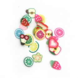 Elements for decoration fimo 6 ~ 3x6 ~ 3x0.2 ~ 0.4 mm fruits ASSORTE colors and shapes -5 grams