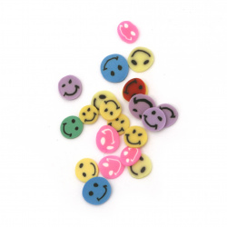 Fimo decoration elements 6 ~ 3x6 ~ 3x0.3 ~ 0.7 mm smiles ASSORTE colors and shapes -5 grams