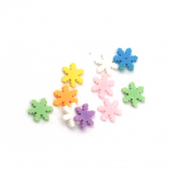 Elements for decoration fimo 5x5x1 mm snowflakes different colors -5 grams