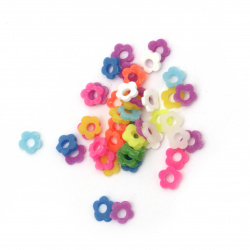 Elements for decoration fimo 5x5x1 mm flower with hole different colors -5 grams