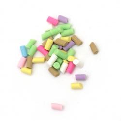 Elements for decoration fimo 3 ~ 6x1.5 mm sticks different colors -5 grams