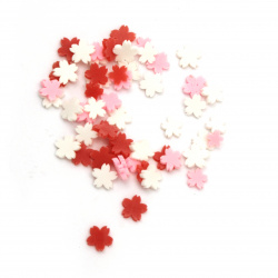 Elements for decoration fimo 5x5x1 mm flower different white red pink -5 grams